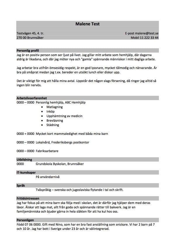 cv med personlig profil - nyckelord - 2 sidor