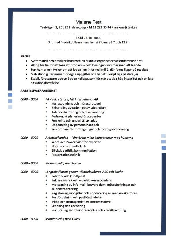 CV PA sekreterare med profil - 2 sidor