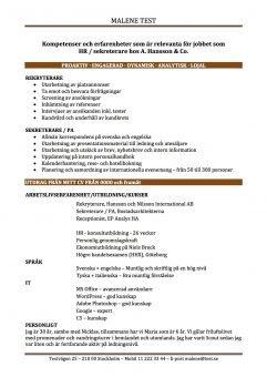 CV Kompetenser och erfarenheter relevanta för jobbet