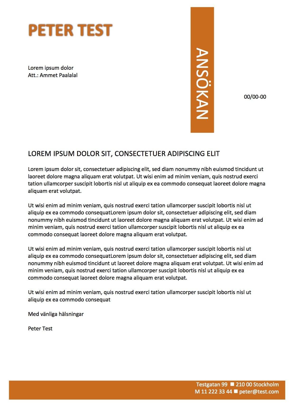 Personligt brev och CV mall Orange - Skriv Ansökan