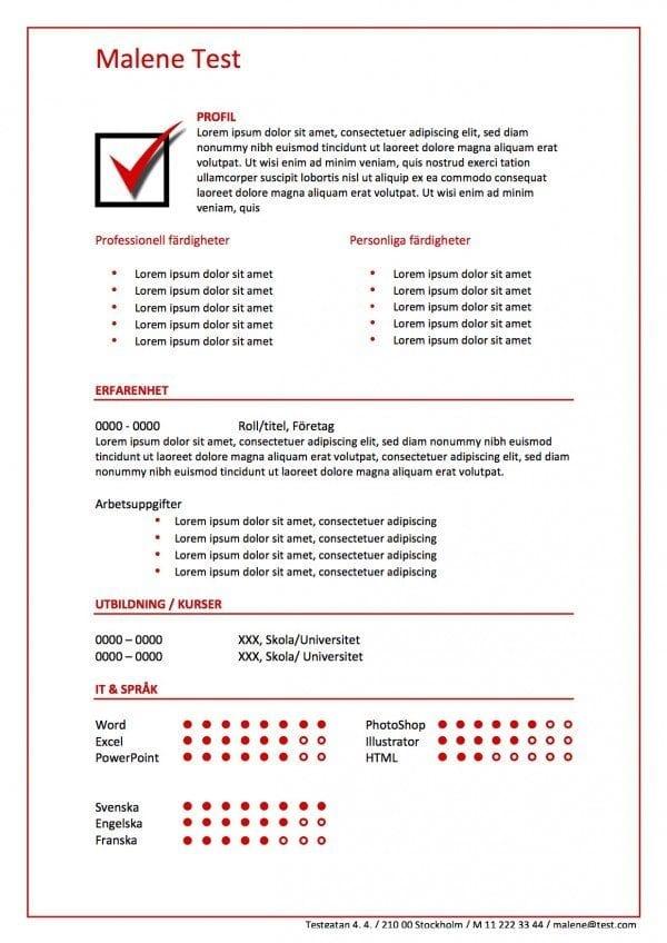 CV med checkmarks