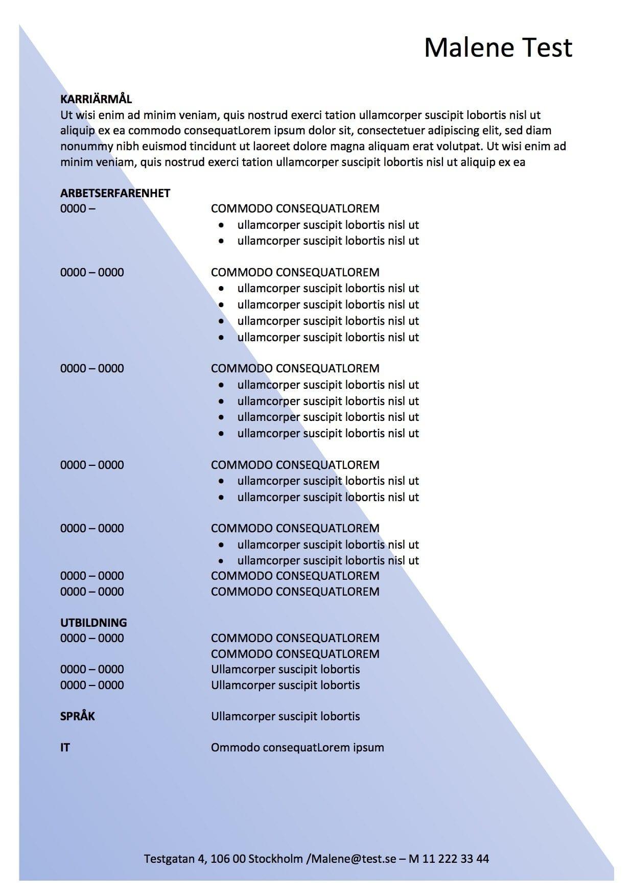Ansökan och CV-mall med vattenstämpel