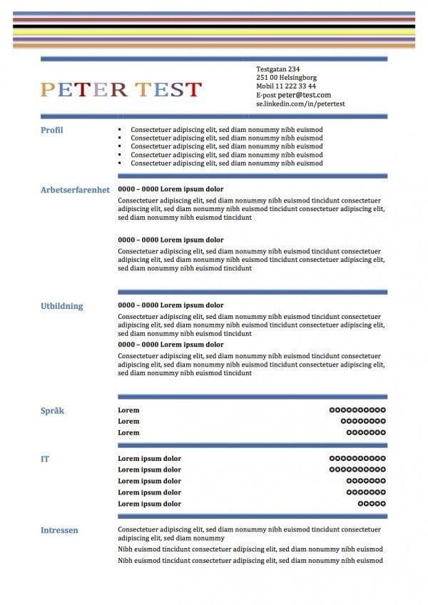 CV-mall i två kolumner med ränder