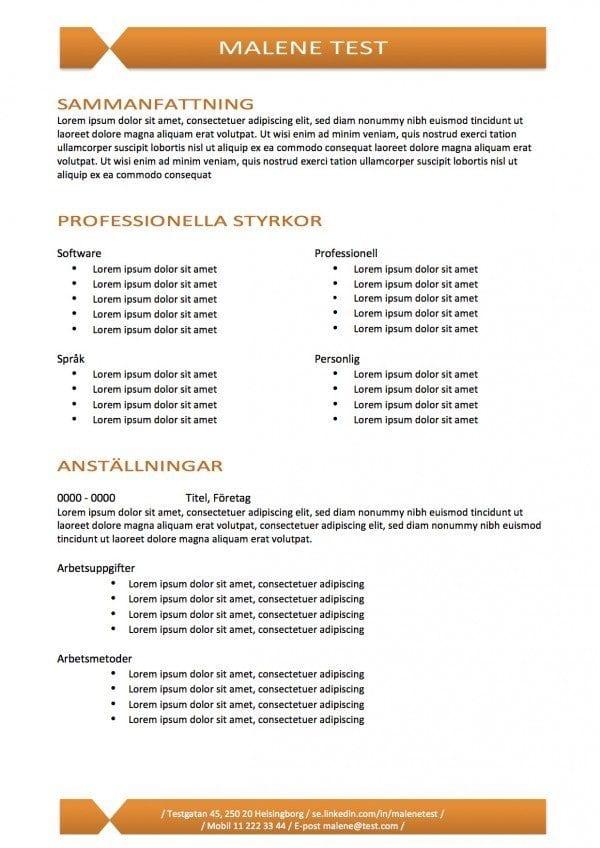 CV mall med kompetens - 2 sidor