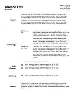CV mall med titeln