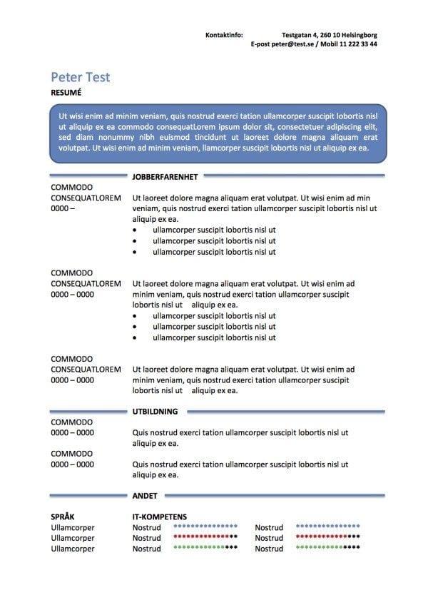 CV mall - resume i textruta - blåCV mall - resume i textruta - blå