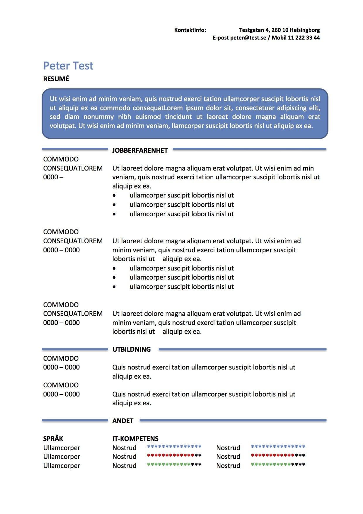 cv mall - resume i textruta - bl u00e5