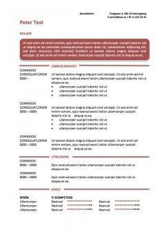 CV mall - resume i textruta - röd