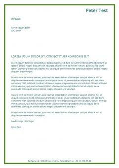 Personligt brev och CV - grön font color - 2 sidor