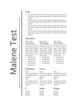 CV mall - tabell - blå textfärg