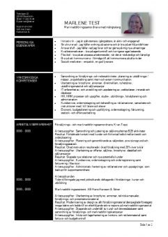 1 CV funktionellt med personliga och yrkesmassiga egenskaper - svart
