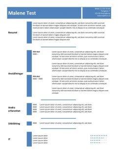 CV mall i tablell - blå