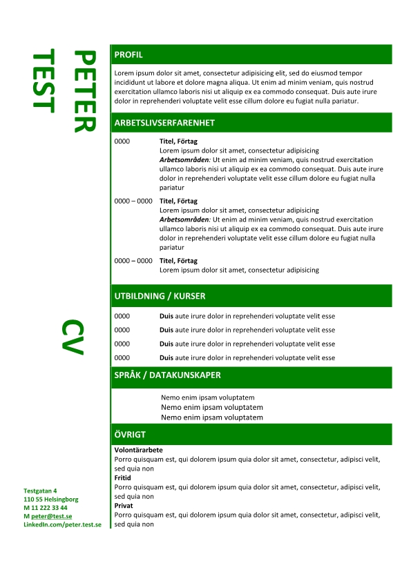 1 Kronologisk CV mall i tabellen gron