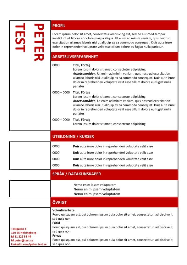 1 Kronologisk CV mall i tabellen rod