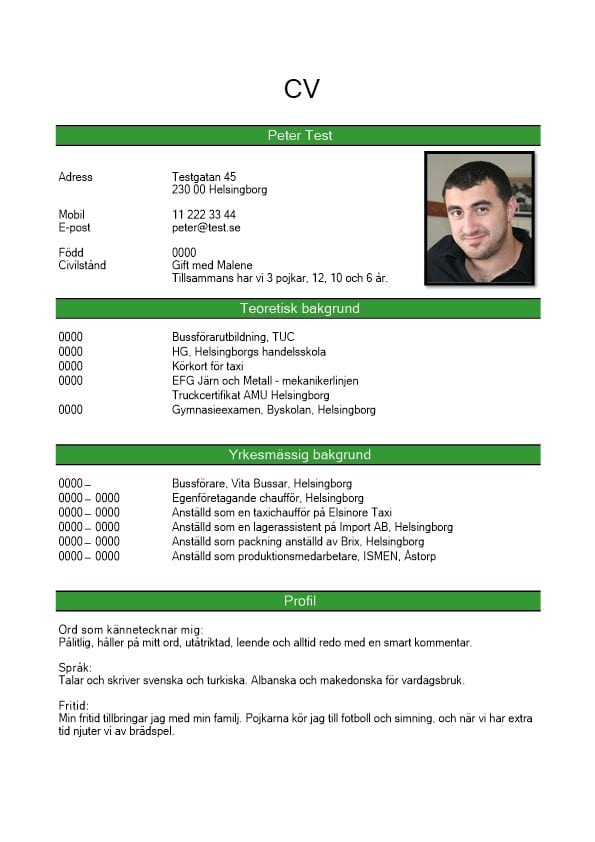 CV kronologiskt med bild - grön