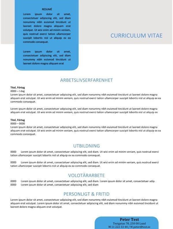 Mall CV med resume i textrutan