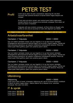 2-CV mall med svart bakgrund och gul text