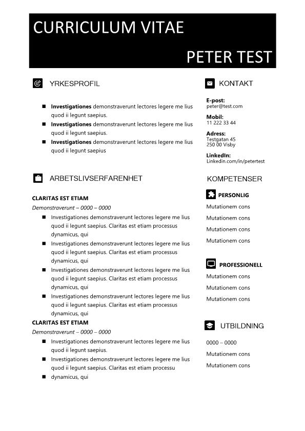 2-CV mall med svart textfält och ikoner