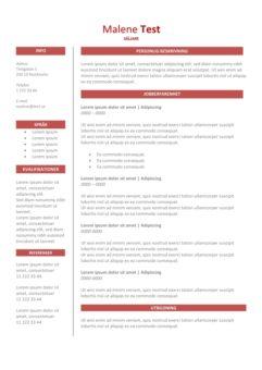 2-CV-mall i tabell - röd färg