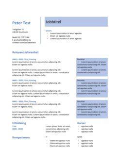 2-CV mall - tabell med resultat